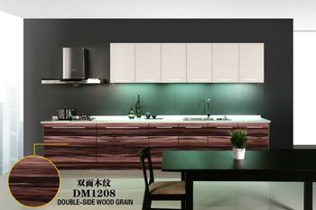 2014 new brand colored elegant wood grain kitchen cabinet