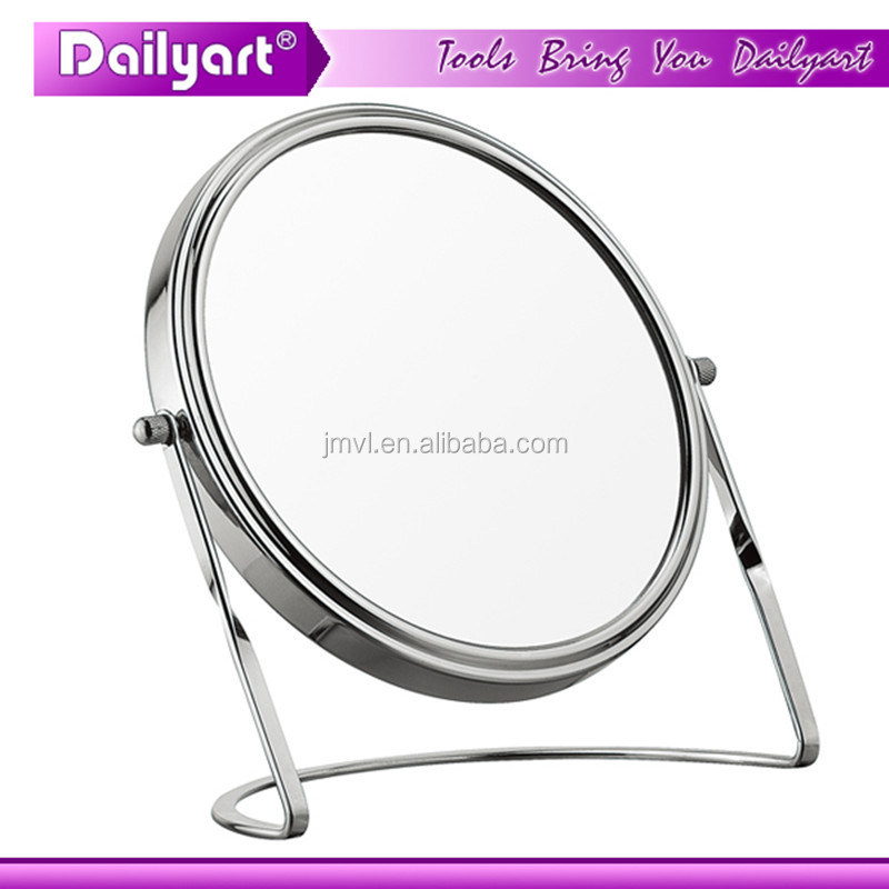 Double vision makeup chrome magnifying mirror