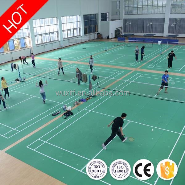 Temperature resistance safe synthetic badminton court flooring from china