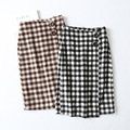 Fashion high waist ethnic checked pattern straight women skirts, wrap medium skirt of Guangzhou manufacturer