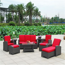 Western style patio wicker hand carved outdoor sofa set with foot stools