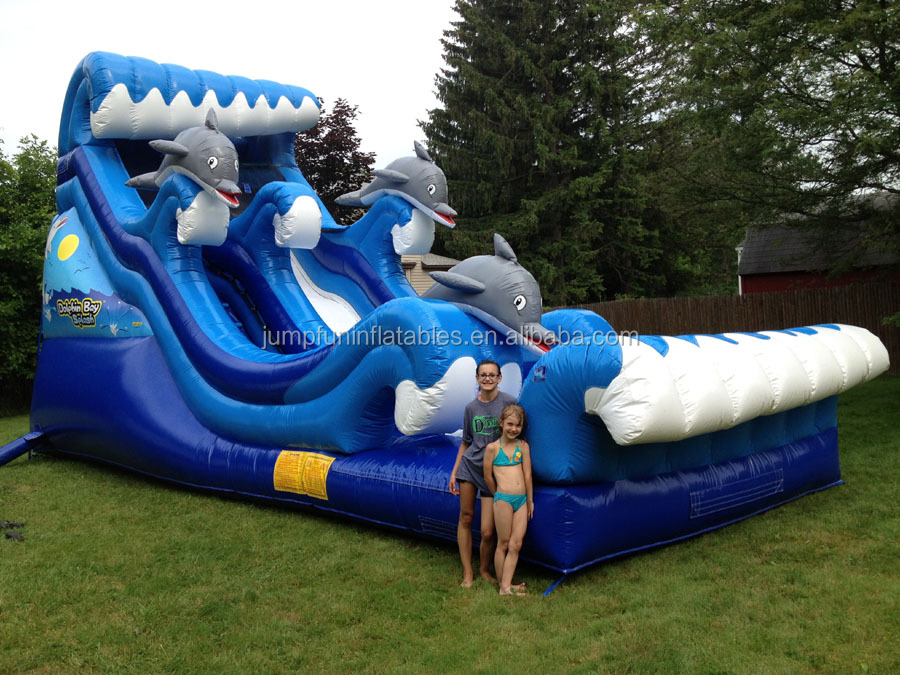 dolphin water slide inflatable,blue air wet slide