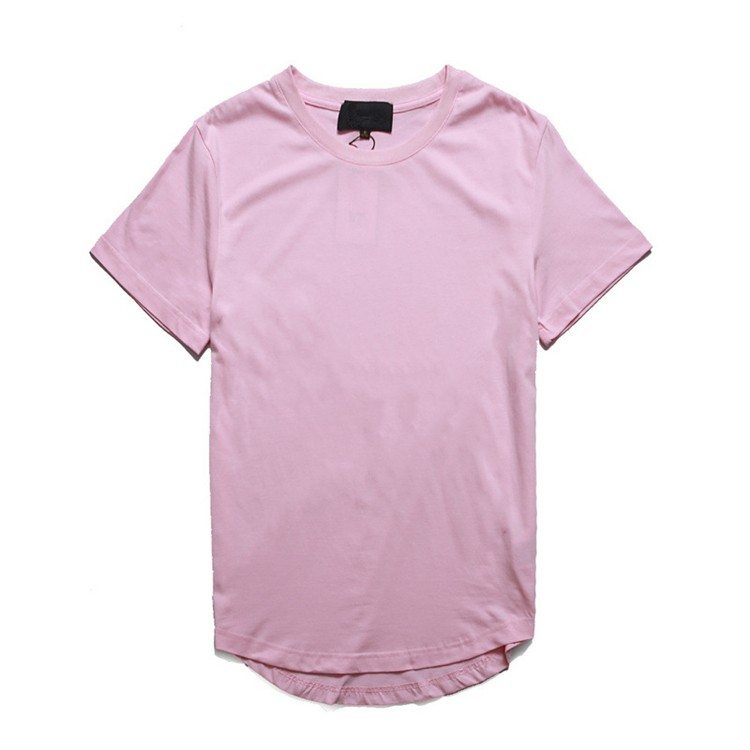 Men's basics plain longline t shirt with round hem