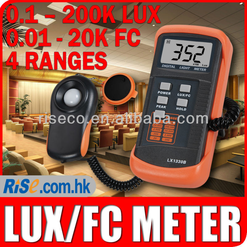 Digital Light Level Meter Illuminance Tester 200k LUX 20k FC Foot Candle Photo Lux Meter
