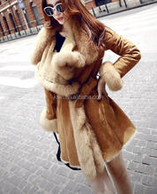 AP-Q-18 High Quality korean cashmere wool fur coat