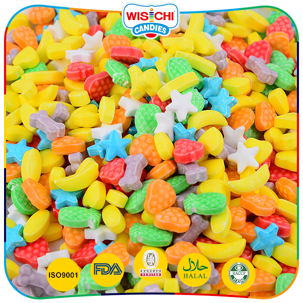 Colorful star shaped hard press candy assorted fruit