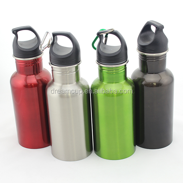 2017 yongkang new single Wall Stainless Steel Sports Water Bottle curved shaped bottle with carabiner