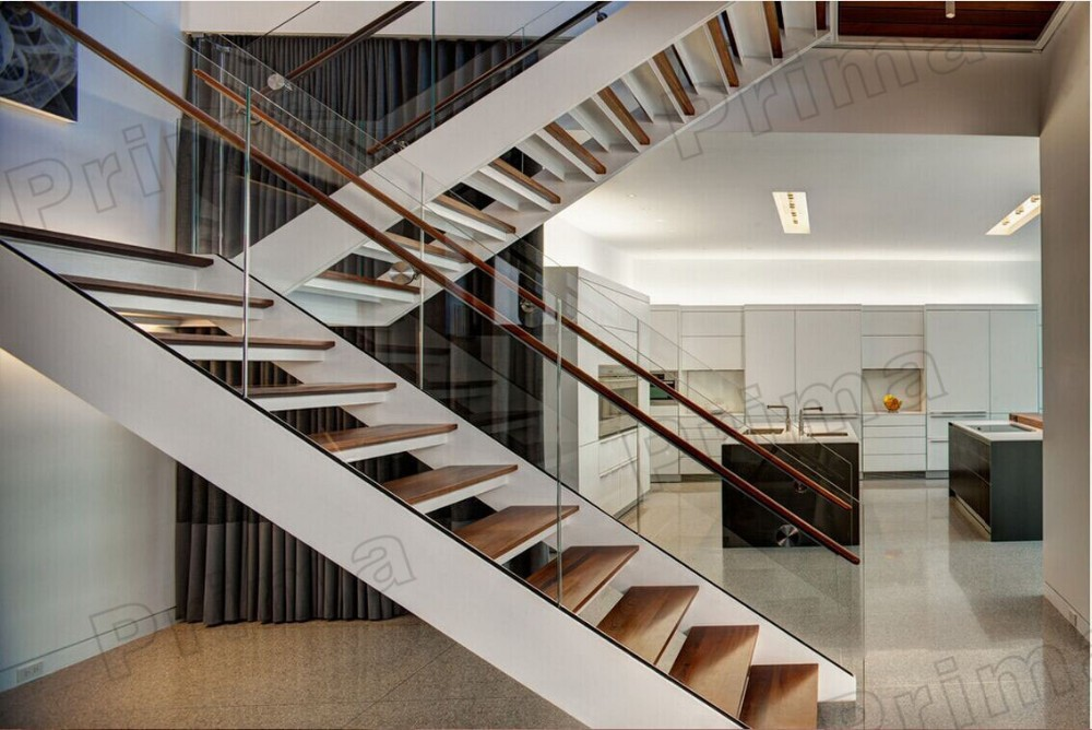 Luxury steel stringer house design interior u shape for Stair designs interior
