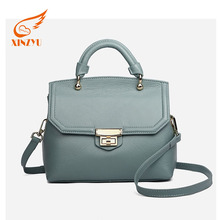 Wholesale Custom Blue and Beige Pure Leather Fashion Women Shopping Shoulder Handbags