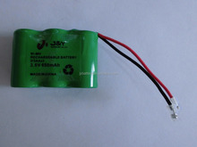 nimh batteries 2/3AA*3 3.6v 650mAh rechargeable battery pack 2/3AA nimh batteries