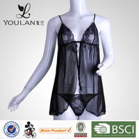 Latest Design Breathable Sexy Female Black Lace Microfiber Thong