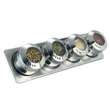 SINOGLASS trade assurance 4 jars magnetic stainless steel spice rack wall mounted spice rack