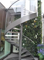 European Fashion Curve Shape stair, steel-glass spiral staircase,outdoor steel stairs,TS-114