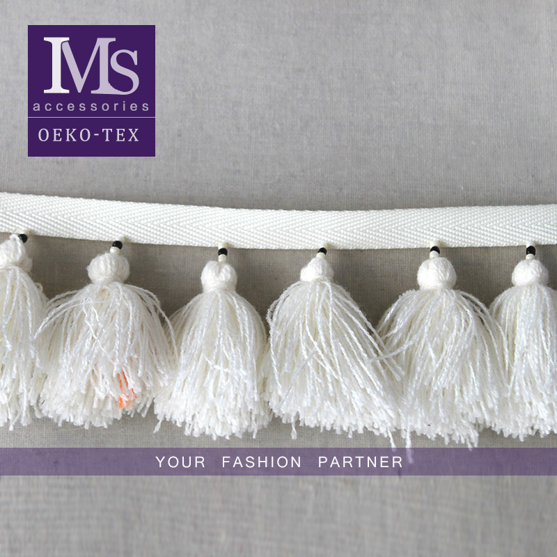 High quality 7.5 cm width handmade beaded cotton fringe in white
