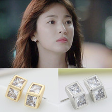 Artilady foreign solid triangular zircon double diamond earring made in korea for sale