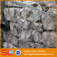 2mx1mx1m Double Twisted gabion wire mesh steel hexagonal mesh