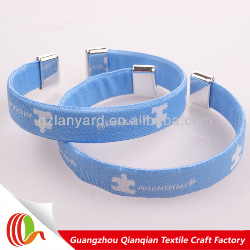 Best seller festival evernt woven textile aluminium wristband clips