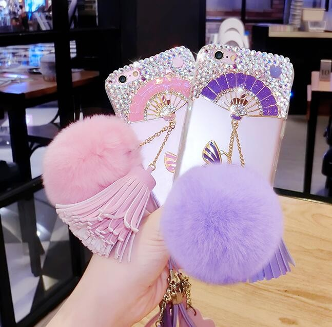 Bling bling case with Pom pom for iPhone 7, For iPhone 6 Tassel diamond case