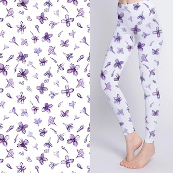 Breathable digital printed stretch blue floral print fabric for yoga pants