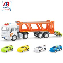 Hot sale 2-in-1 Friction Powered Car Carrier Truck 1:16 Toy Auto Transporter Vehicle with Lights and Sounds