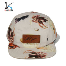 Make your own design 5 panel leather strap back hats with metal buckle