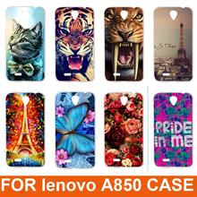 Hot New 14 patterns Eiffiel Towel colored rose animals design Painting Hard Plastic Phone Case Cover For Lenovo A850