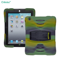 Heavy Duty Protective Rubber Silicon PC Combo Tablet Case For iPad 2 3 4 With Kickstand