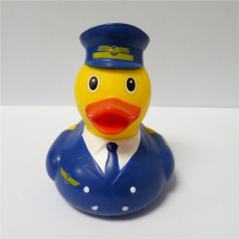 Airplane captain floating pvc bath duck toy, command pilot rubber duck