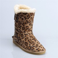 Sexy warm shoe leopard snow half boot for women