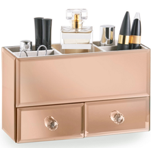 Small Mini Copper Rose Gold Mirrored Storage Drawers Jewellery Make Up Organiser