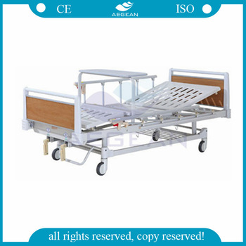 AG-BYS123 dining table cheap 2-Crank manual hospital bed nursing home supplies used hospital beds for sale