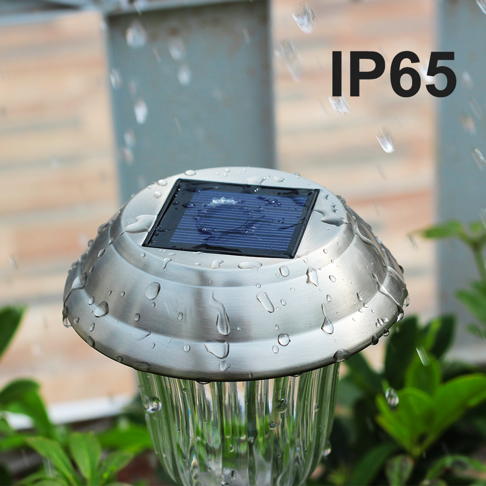 Stainless solar lawn lamp with RGB Outdoor garden Waterproof