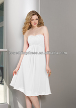 HB2018 White factory wholesale in stock under 100 dollars white gathered chiffon knee length zipper cheapest bridesmaid dresses