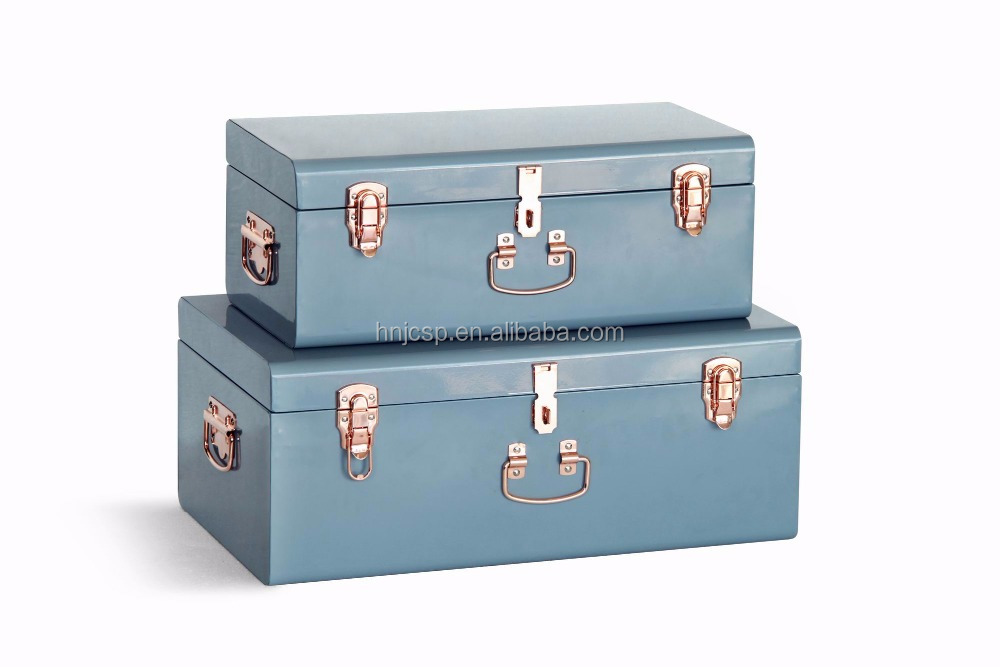 Cream Painted Steel Metal Trunk Storage Boxes