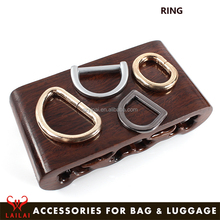 Factory price bag hardware accessories nickel zinc alloy stainless steel belt d-ring metal d ring buckle for handbags bag strap