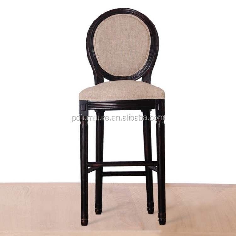 Wholesale vintage chairs round back dining chair fabric bar stool for dining room