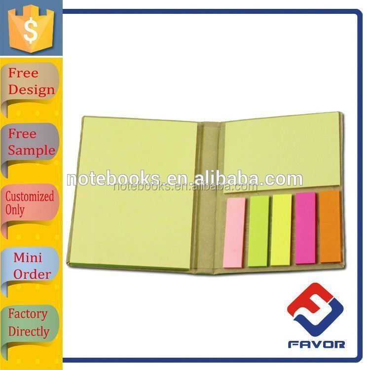 promotional gift custom size and shape hard cover kraft sticky note pad