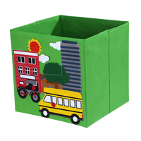 Eco-Friendly baby foldable canvas oxford cartoon green car pattern design fabric kids toy storage box cube with handles