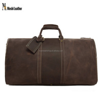 12027 Moshi Wholesale Large Vintage Style Top Grain Italian Genuine Leather Travel Bag for Men Travel Duffle Bag