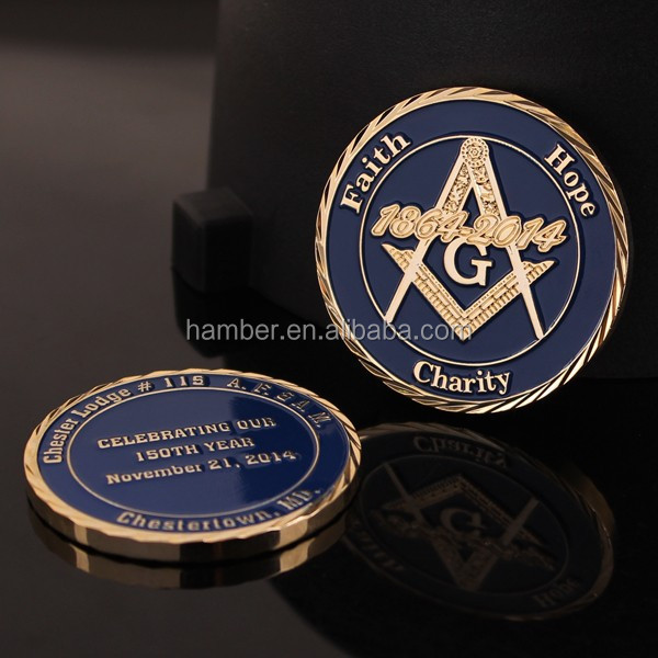 Custom Masonic gold coins with gift box