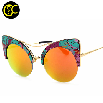 Fashion New Printed Oversized Cat Eye Sunglasses Summer Round Frame Sunglasses Women Sun glasses Shades oculos de sol CC5056