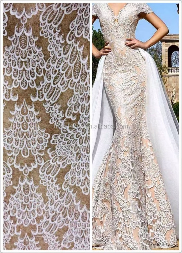 Indian bridal lace fabric polyester fabric for wedding dress french net lace HY0525
