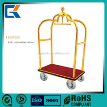 High Quality Titanium Gold Plated Used Hotel baggage Carts/laggage trolley
