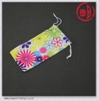 Microfiber drawstring mobile pouches for girls