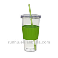 plastic double wall drinking straw cup