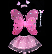Double layer 7 Color Mix Fairy Wings Set with Tutu Halloween costume for kids