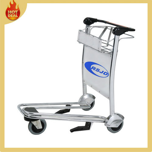 Hand brake 3 wheels stainless steel airport trolley with hand brake
