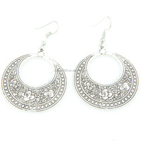Antique Silver Carved Pattern Geometrical Hollow Round Circle Drop Dangle Earrings