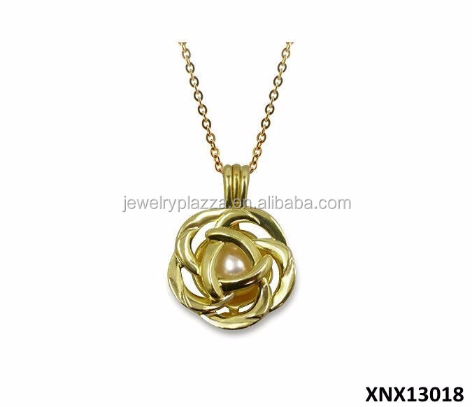 Unique Design 925 Sterling Silver Pearl Cage (5-8mm) Gold-tone Rose Necklace