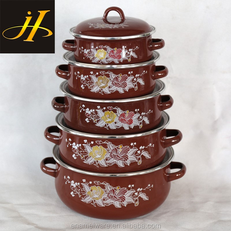 factory supply enamel pot set kitchen cookware porcelain clad casserole coffee color